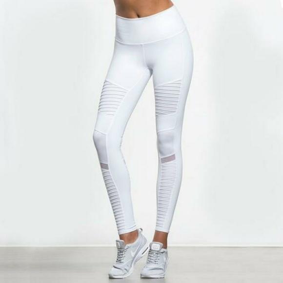 801f474b142e3f ALO Yoga Pants | Sexy Moto Yoga Leggings White | Poshmark